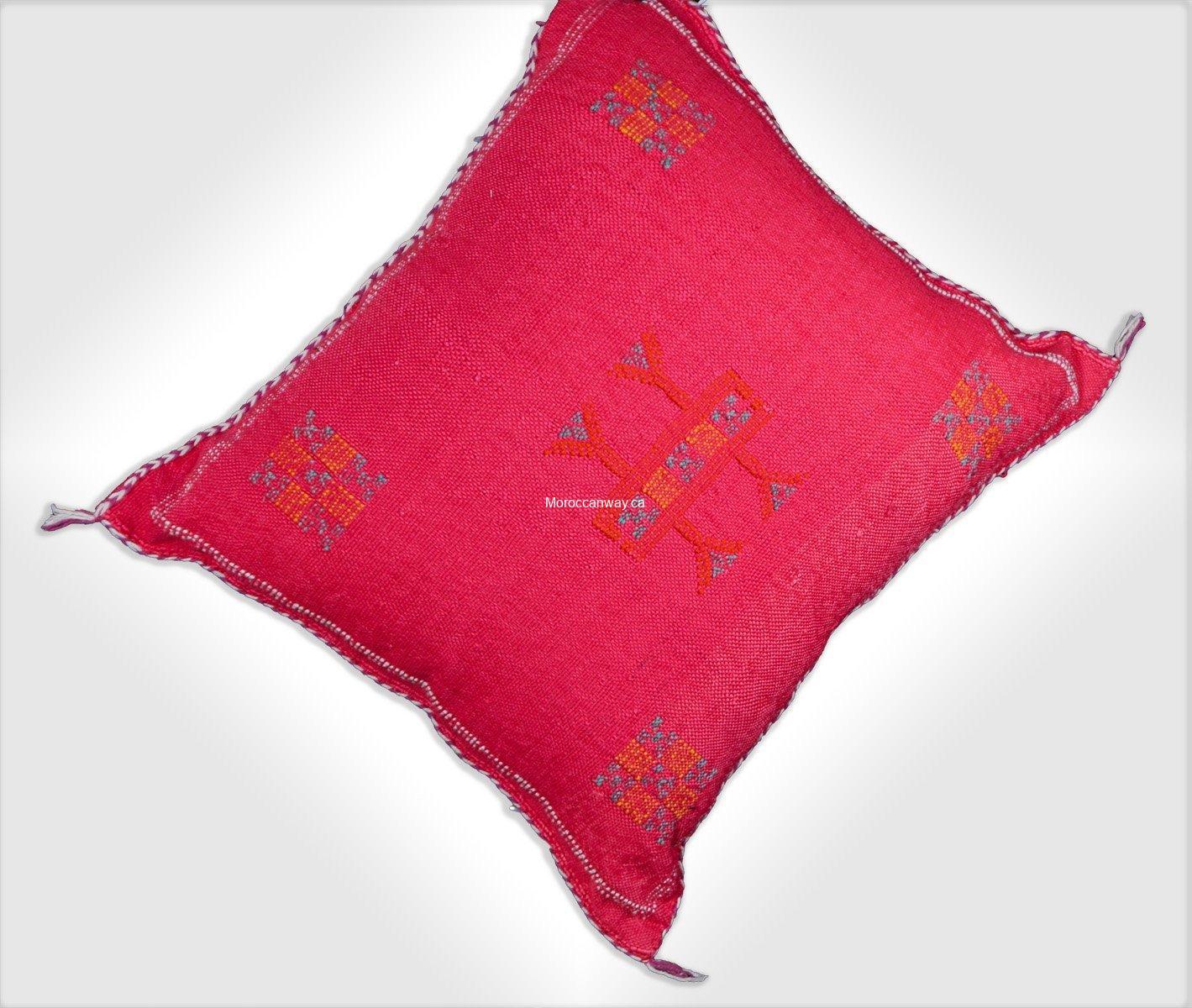 Decorative Bohemian Handmade Throw Pillow Rosie Moroccan Sabra Cactus Silk Pillow