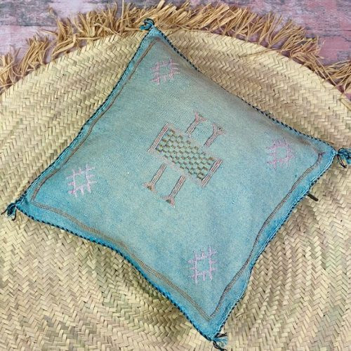 blue cactus silk pillow