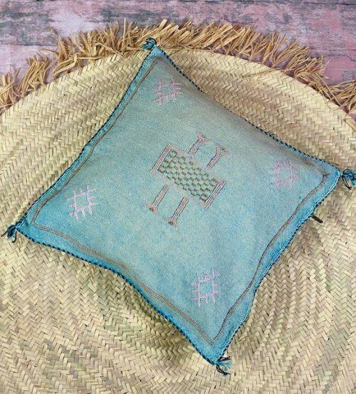 blue cactus silk pillow
