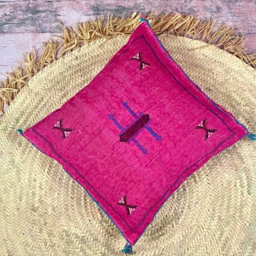 fuchsia silk pillow