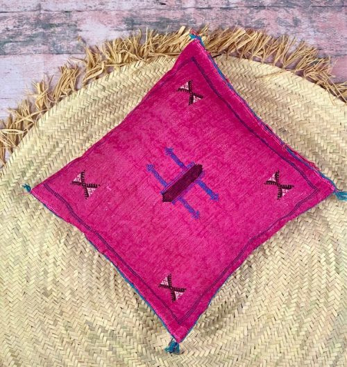 fuchsia silk pillow
