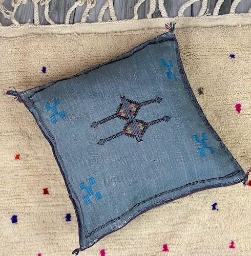 grey cactus silk pillow