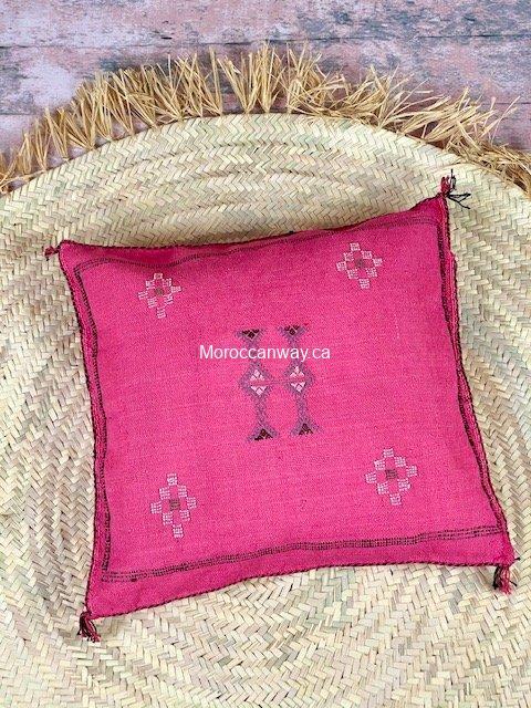 cactus silk pillow pink