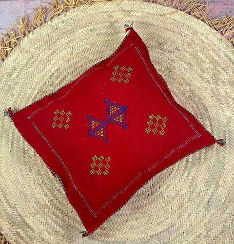 red cactus silk pillow