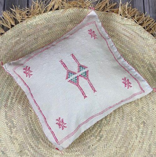 white cactus silk pillow