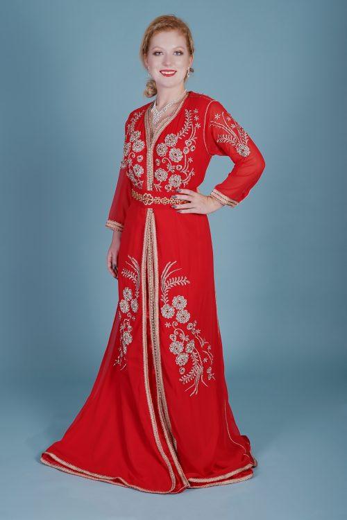 Red muslin Fashion caftan