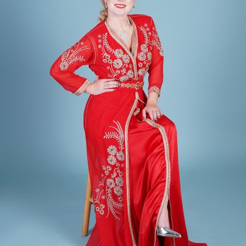 Red Muslin Fashion caftan