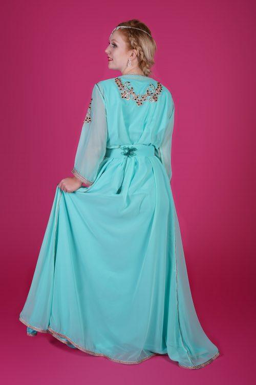 green muslin fashion caftan