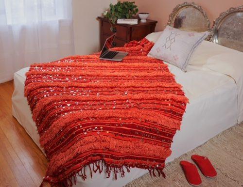 red vintage blanket